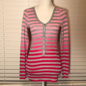 Pink striped v-neck button up tunic